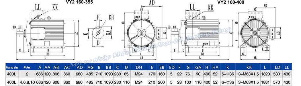 Mô tơ điện 3 pha 560 kW VICKY VY2-400L2-4 IE2