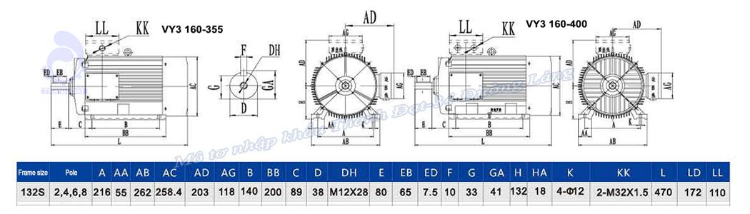 Mô tơ điện 3 pha 7.5 kW VICKY VY3-132S2-2 IE3